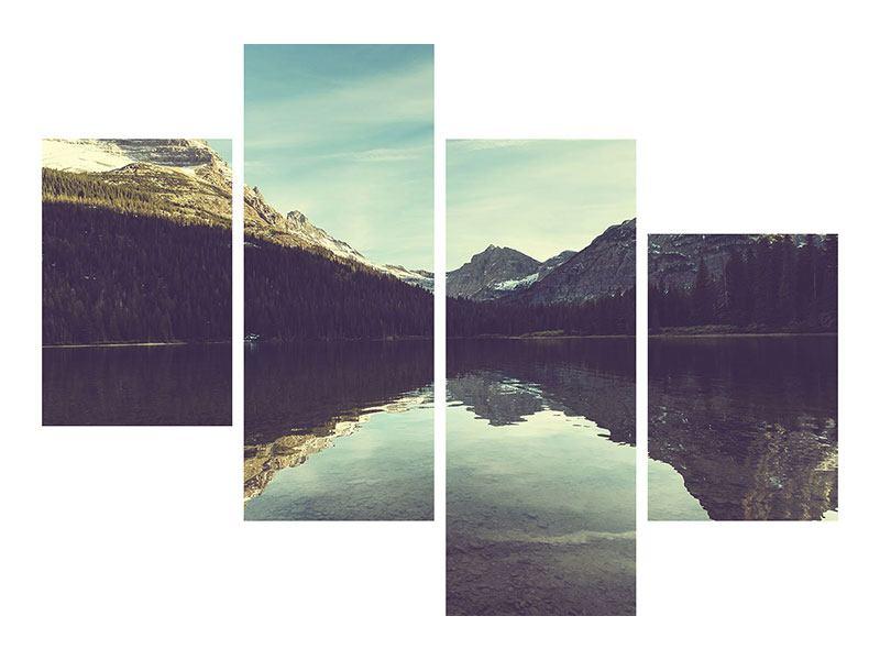 Hartschaumbild 4-teilig modern Spiegelung im Bergsee