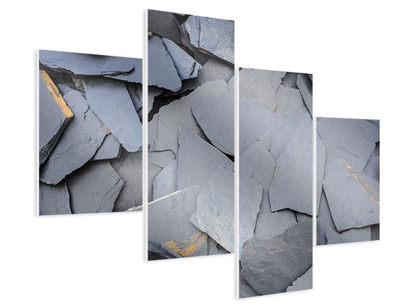 Hartschaumbild 4-teilig modern Schieferplatten