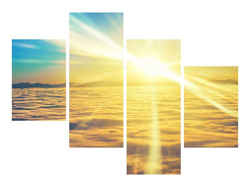 Hartschaumbild 4-teilig modern Sonnenuntergang über den Wolken