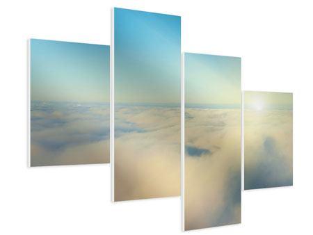 Hartschaumbild 4-teilig modern Dämmerung über den Wolken