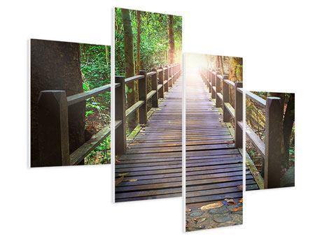 Hartschaumbild 4-teilig modern Die Brücke im Wald