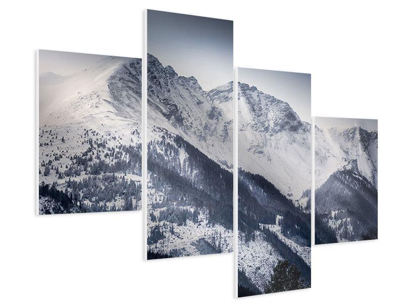 Hartschaumbild 4-teilig modern Die Berge der Schweiz