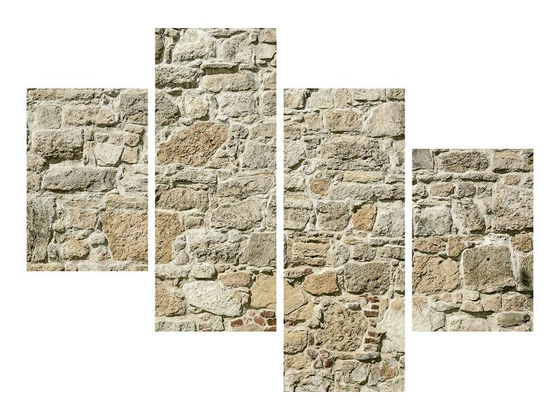 Hartschaumbild 4-teilig modern Naturmauer