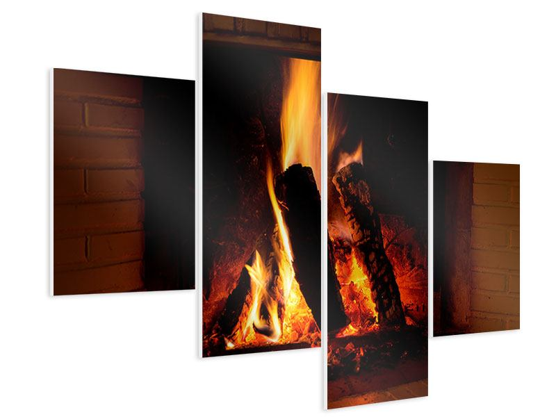 hartschaumbild 4 teilig modern feuer im kamin. Black Bedroom Furniture Sets. Home Design Ideas