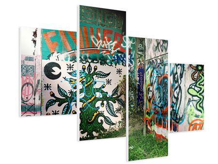 Hartschaumbild 4-teilig modern Graffiti im Hinterhof