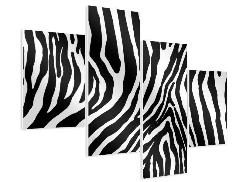 Hartschaumbild 4-teilig modern Zebramuster