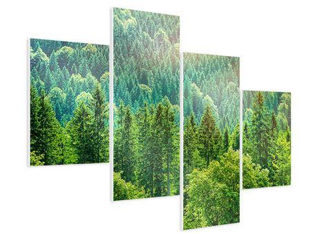 Hartschaumbild 4-teilig modern Der Waldhügel