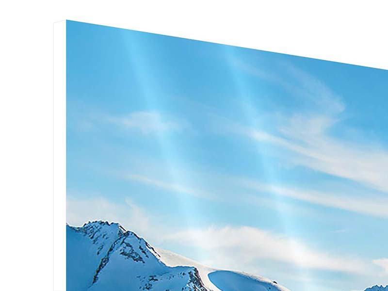 Hartschaumbild 4-teilig modern Sonnenaufgang in den Bergen