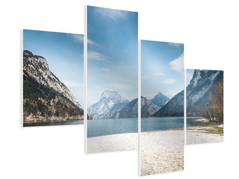 Hartschaumbild 4-teilig modern Der idyllische Bergsee
