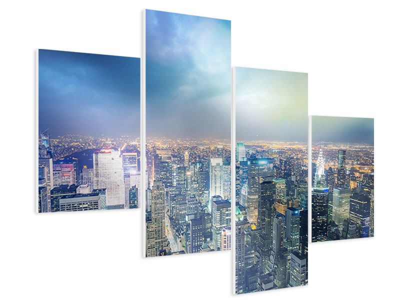 Hartschaumbild 4-teilig modern Skyline NY bei Sonnenuntergang