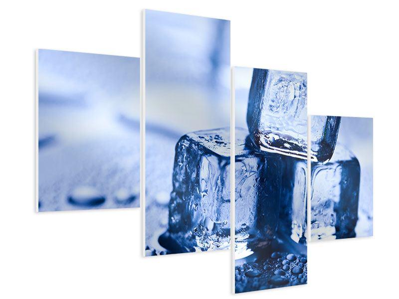 Hartschaumbild 4-teilig modern Eiswürfel