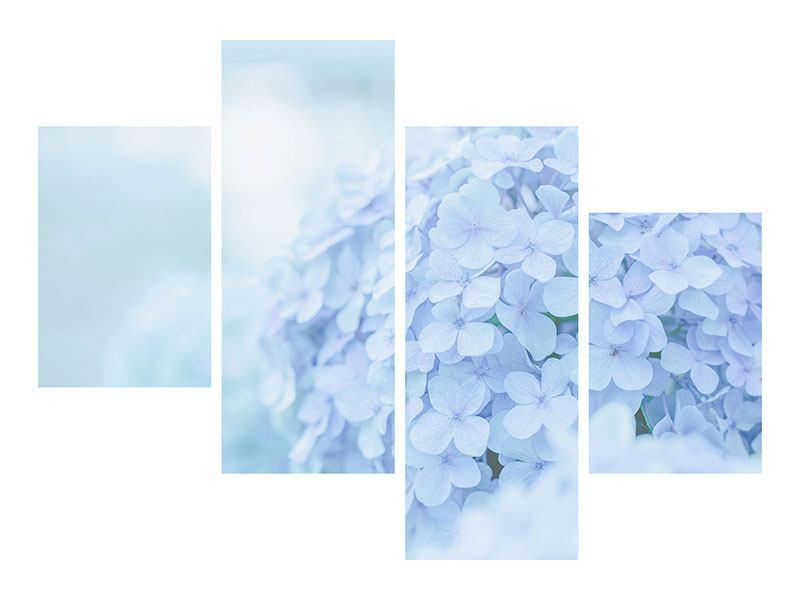 Hartschaumbild 4-teilig modern Die Hortensie