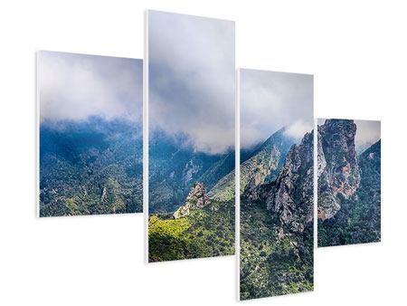 Hartschaumbild 4-teilig modern Der stille Berg
