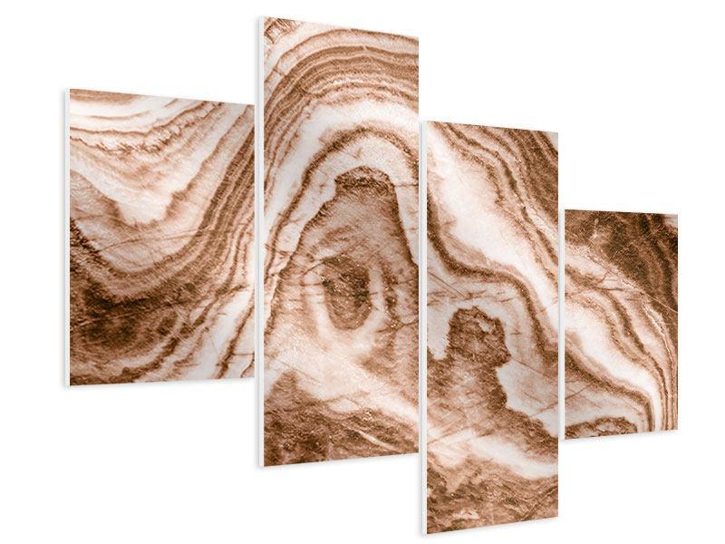 Hartschaumbild 4-teilig modern Marmor in Sepia