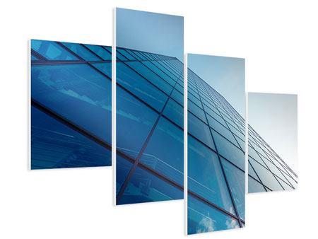 Hartschaumbild 4-teilig modern Wolkenkratzer-Highlight