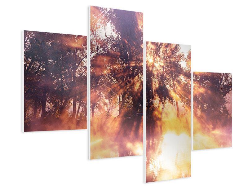 Hartschaumbild 4-teilig modern Die Waldspiegelung