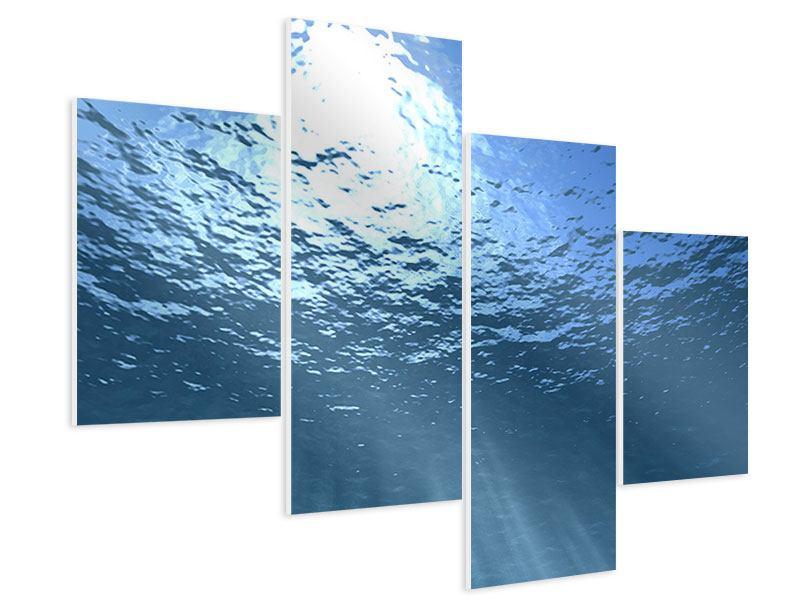 Hartschaumbild 4-teilig modern Sonnenstrahlen unter Wasser