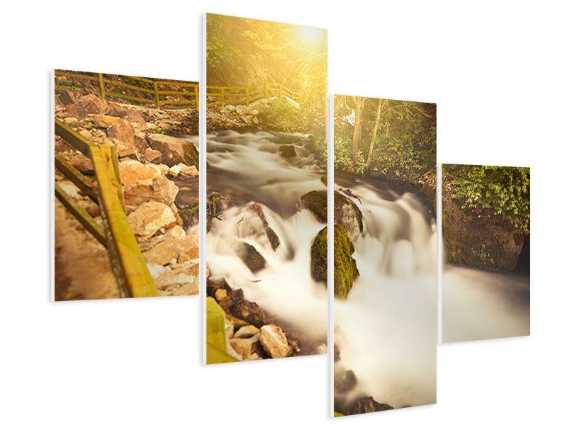 Hartschaumbild 4-teilig modern Sonnenuntergang am Wasserfall