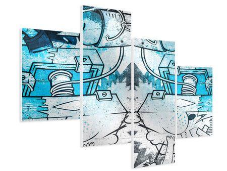 Hartschaumbild 4-teilig modern Graffiti