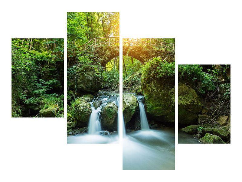 Hartschaumbild 4-teilig modern Wasserspiegelungen