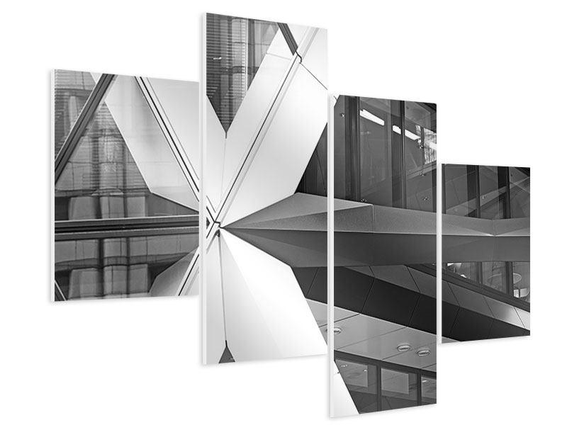 Hartschaumbild 4-teilig modern Teil eines Wolkenkratzers