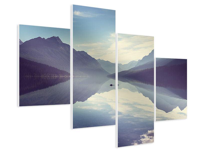 Hartschaumbild 4-teilig modern Bergspiegelung