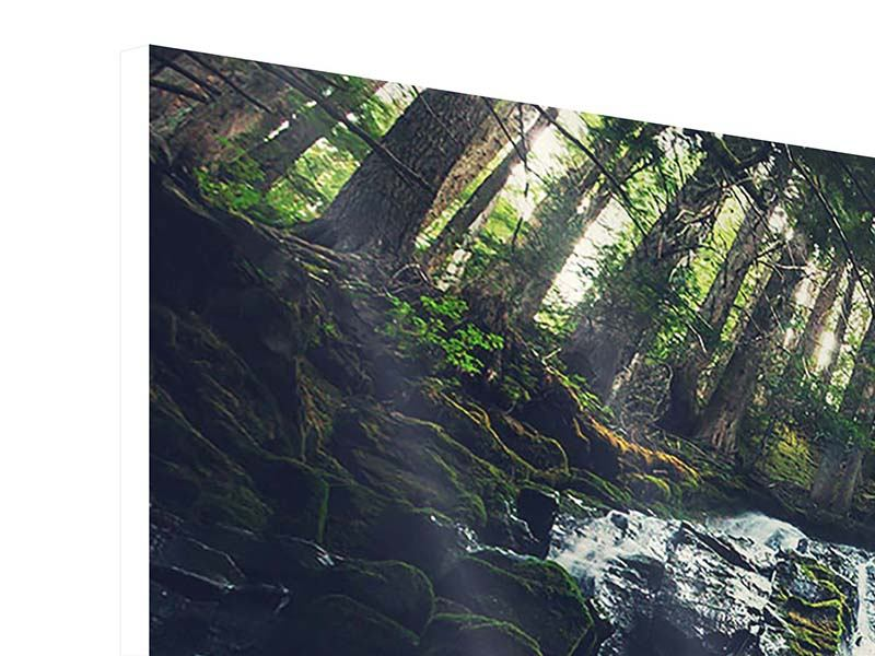 Hartschaumbild 4-teilig modern Feng Shui & Wasserfall