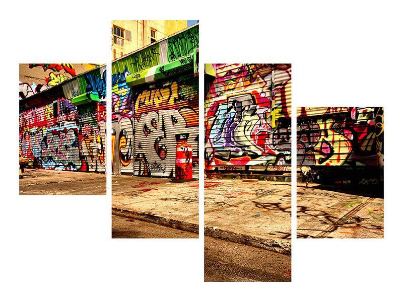 Hartschaumbild 4-teilig modern NY Graffiti