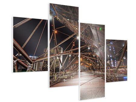 Hartschaumbild 4-teilig modern Brückenlichter
