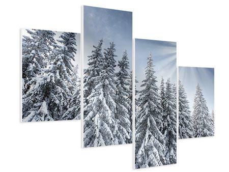 Hartschaumbild 4-teilig modern Wintertannen