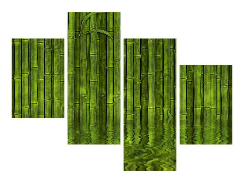 Hartschaumbild 4-teilig modern Wasserspiegelung Bambus