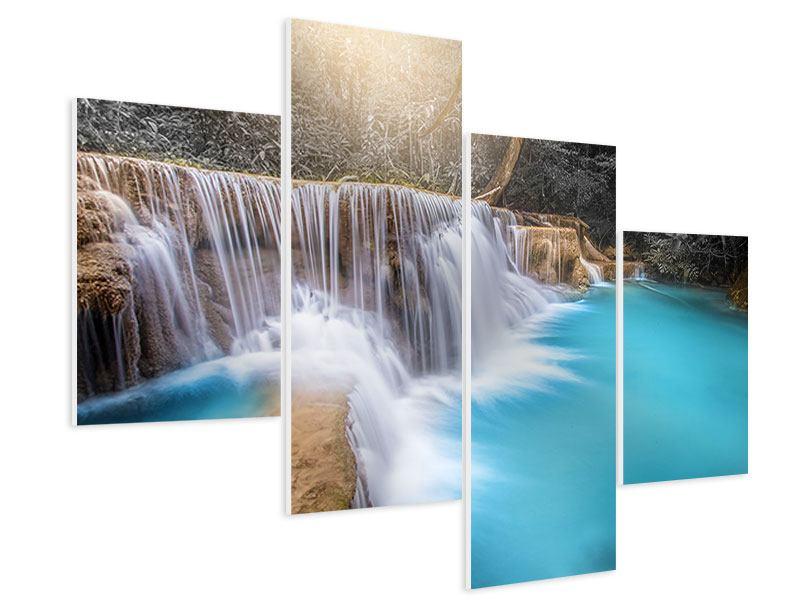 Hartschaumbild 4-teilig modern Glücklicher Wasserfall
