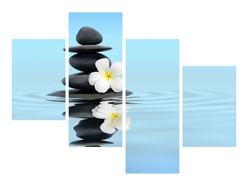 Hartschaumbild 4-teilig modern Zen Steine