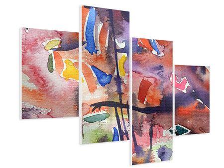 Hartschaumbild 4-teilig modern Aquarell