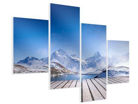 Hartschaumbild 4-teilig modern Sonnenterrasse am Schweizer Bergsee