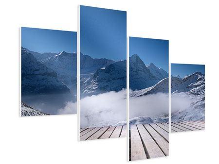 Hartschaumbild 4-teilig modern Sonnenterrasse in den Schweizer Alpen