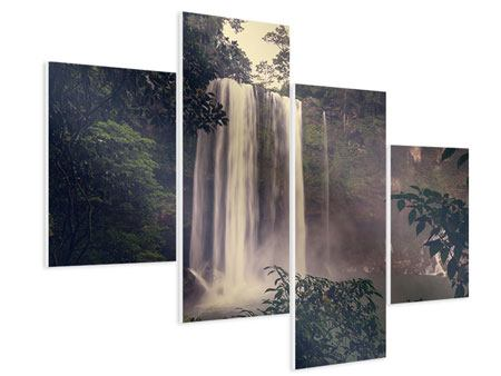 Hartschaumbild 4-teilig modern Wasserfall in Mexiko