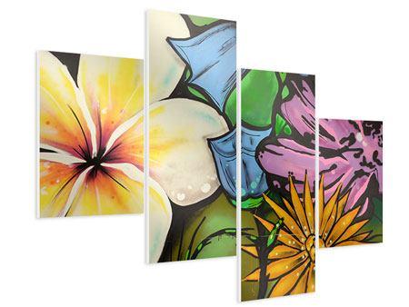 Hartschaumbild 4-teilig modern Graffiti Flowers