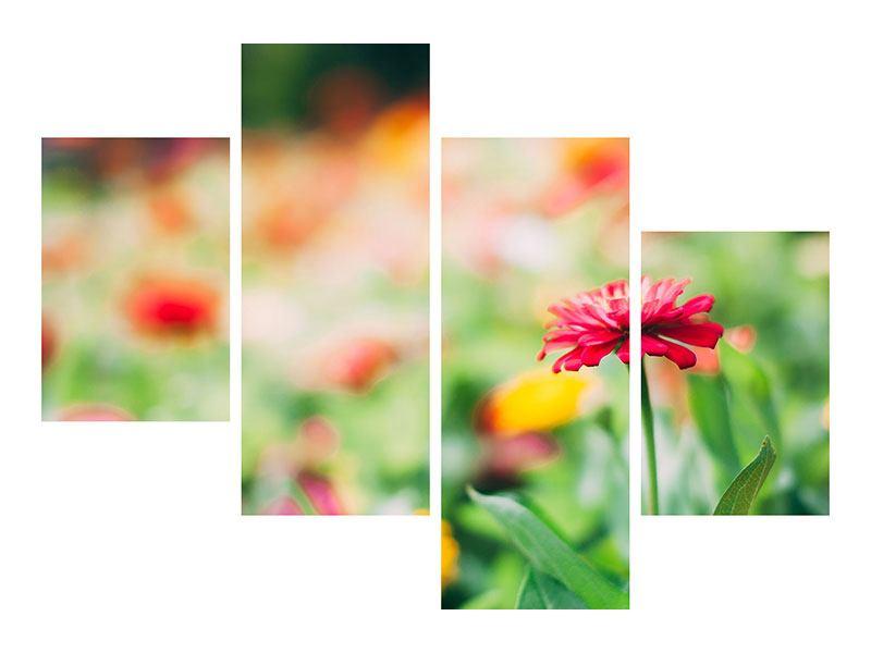 Hartschaumbild 4-teilig modern Im Blumengarten