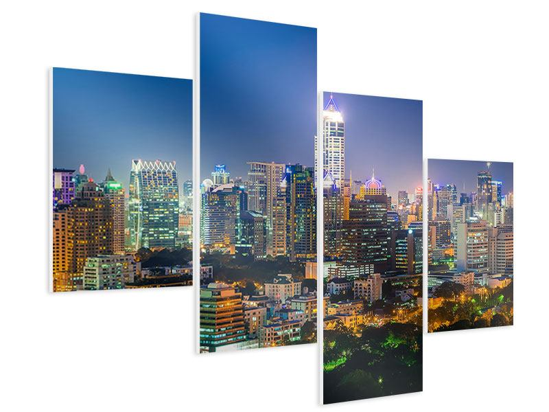 Hartschaumbild 4-teilig modern Skyline One Night in Bangkok