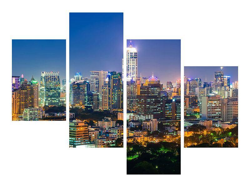 Hartschaumbild 4-teilig modern Skyline One Night in Bangkok