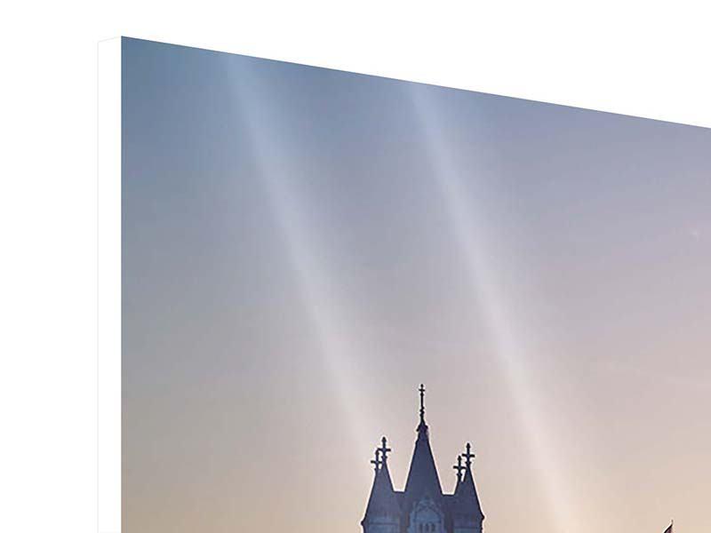Hartschaumbild 4-teilig modern Tower Bridge bei Sonnenuntergang