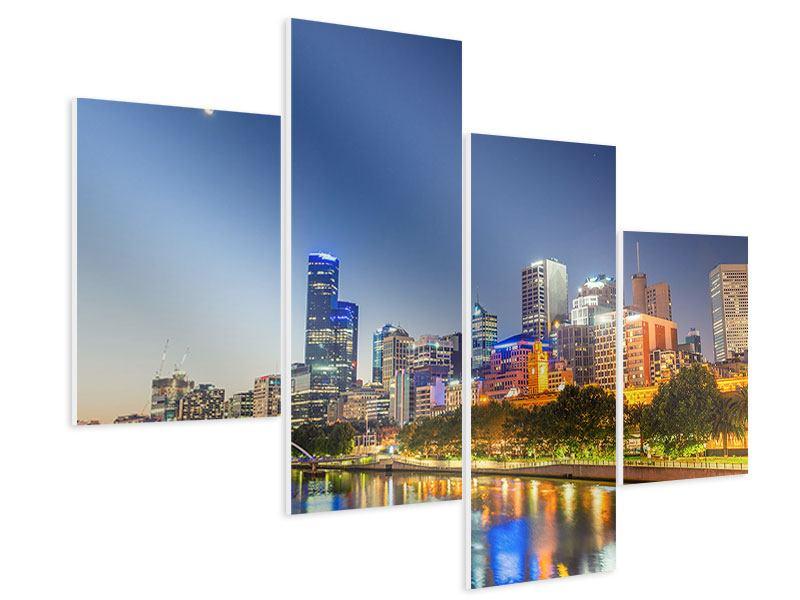 Hartschaumbild 4-teilig modern Skyline Sydney in der Abenddämmerung