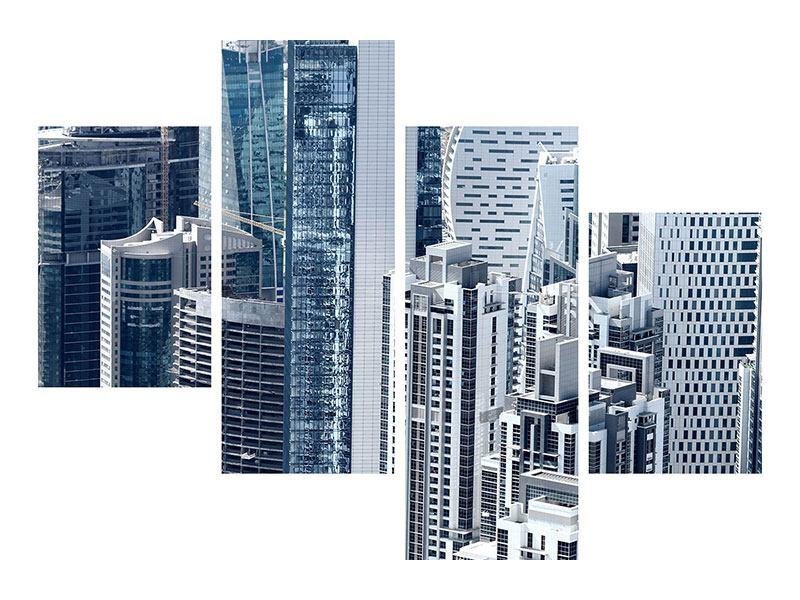 Hartschaumbild 4-teilig modern Die Wolkenkratzer von Dubai
