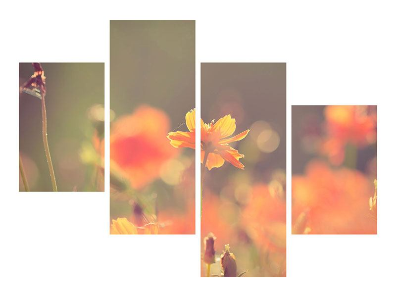 Hartschaumbild 4-teilig modern Blütenpracht
