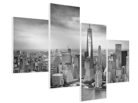 Hartschaumbild 4-teilig modern Skyline Schwarzweissfotografie New York