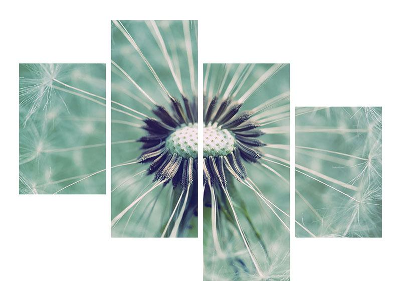 Hartschaumbild 4-teilig modern Close Up Pusteblume
