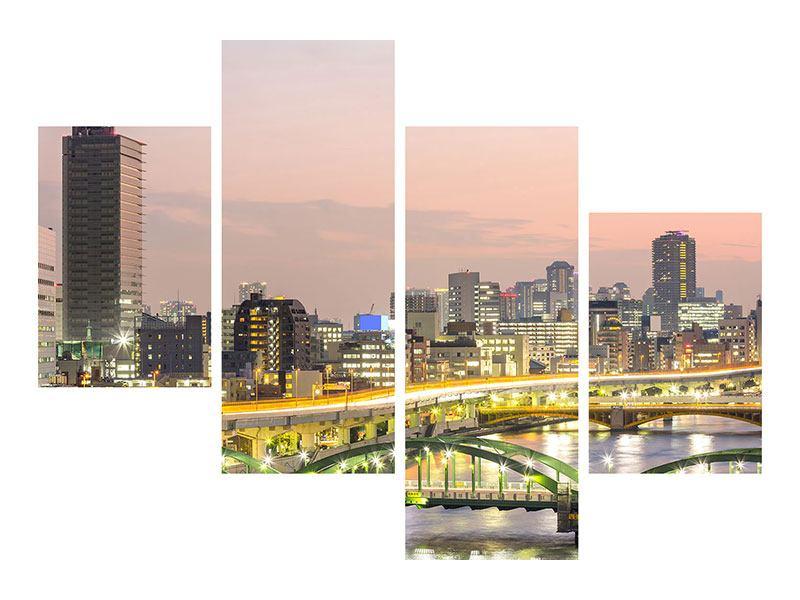 Hartschaumbild 4-teilig modern Skyline Das Lichtermeer von Tokio
