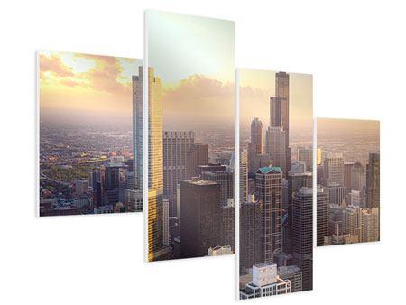 Hartschaumbild 4-teilig modern Skyline Chicago