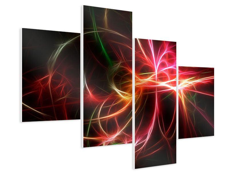 Hartschaumbild 4-teilig modern Fraktales Lichtspektakel